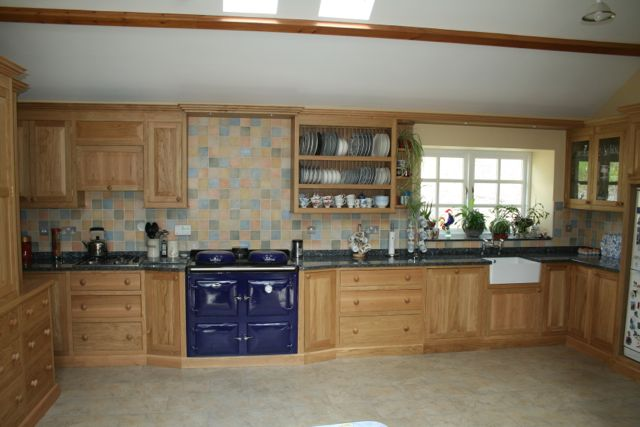 European oak kitchen fitted into Barn conversion