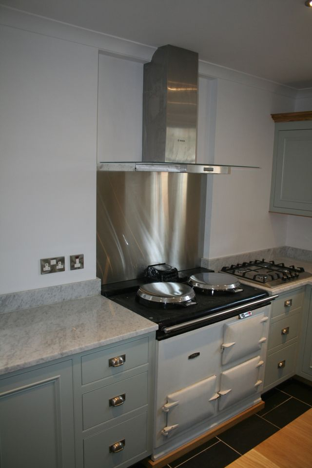 Built in AGA with stainless and glass extractor unit