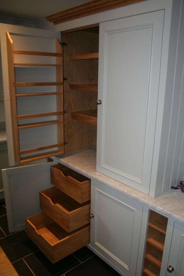 Painted Larder unit with oak internally. Fitted with adjustable shelving and oak shelving to back of doors