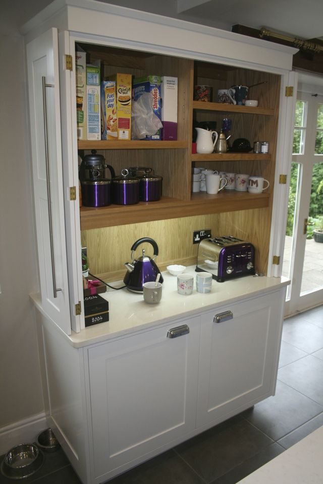 Internal view of breakfast dresser, incorporating LED lighting, 13 amp sockets