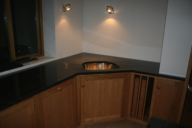 handmade oak coner sink unit, wales, ceredigion